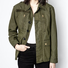 100% Cotton Spring and Autumn New Casual Trend Military Style Zipper Pocket Decoration Jacket Women