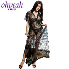 Ohyeahlover Short sleeve transparent lace nightgown with belt maxi side split women night robe fishnet dressing gown RL80262