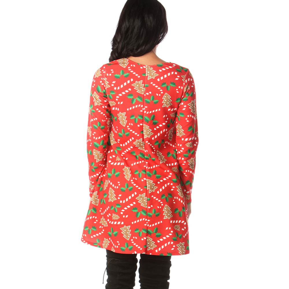 Print Long Sleeve Autumn Winter Christmas Dress Women 19 Casual Loose Short Party Dress Plus Size S-5XL Vestidos 20