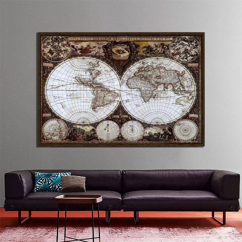 Nova Totius Terrarum Orbis Tabula Auctore F.DE WIT 150X100cm Non-woven Retro World Map For Research And Wall Decor