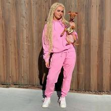 Autumn Set Casual Solid Tracksuit Two Piece Suit Hooded Women Hoodies Tops And High Waist Loose Pants Set Outfit patchwork tracksuit women 2019 two piece set casual side striped sexy tops short pants loose outfit set sportwear c124