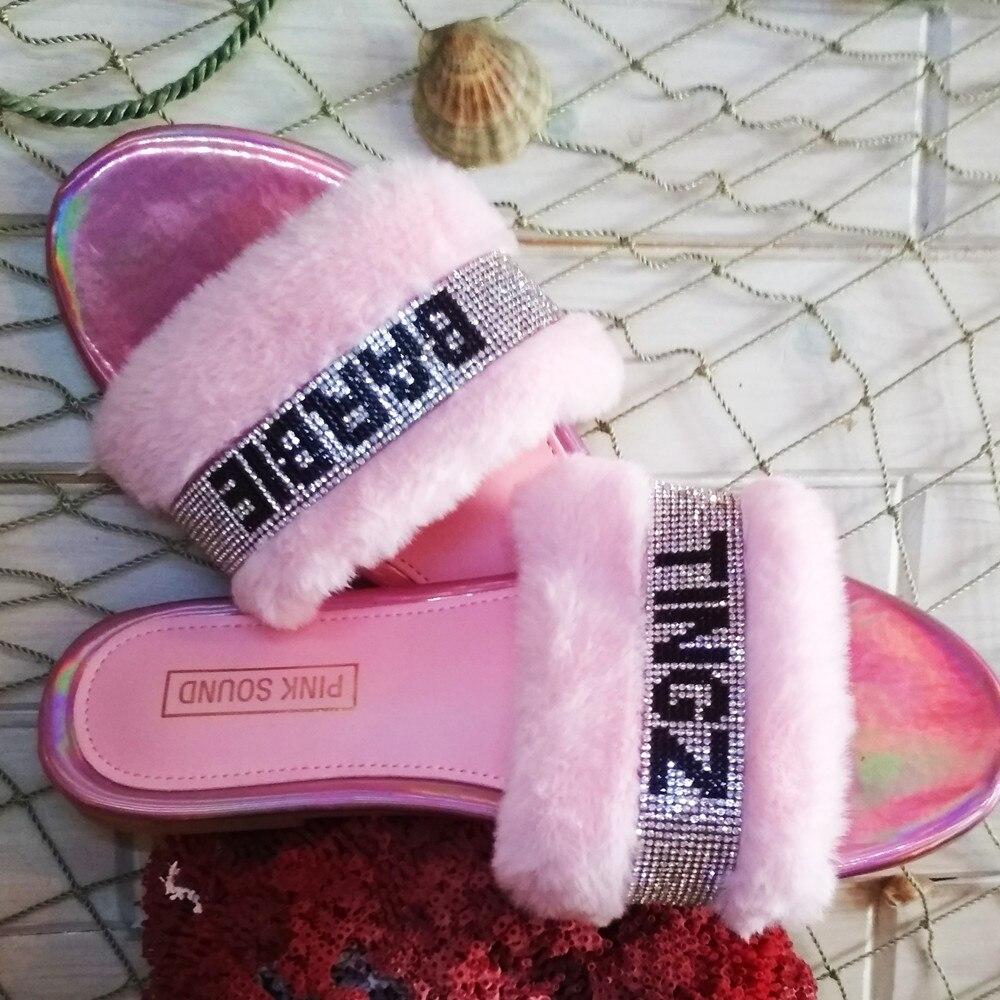 Women Plush Shoes Homewear Fashion Wild Hair Slippers Bright Diamond Letter Warm Fur Sandals Female New Basic Flip Flop Flat