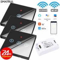 SMATRUL Tuya Smart Leben APP WiFi TOUCH Schalter Licht RF 433Mhz Wand DIY Relais Timer Modul Google Home Amazon alexa 110V 220V 10A