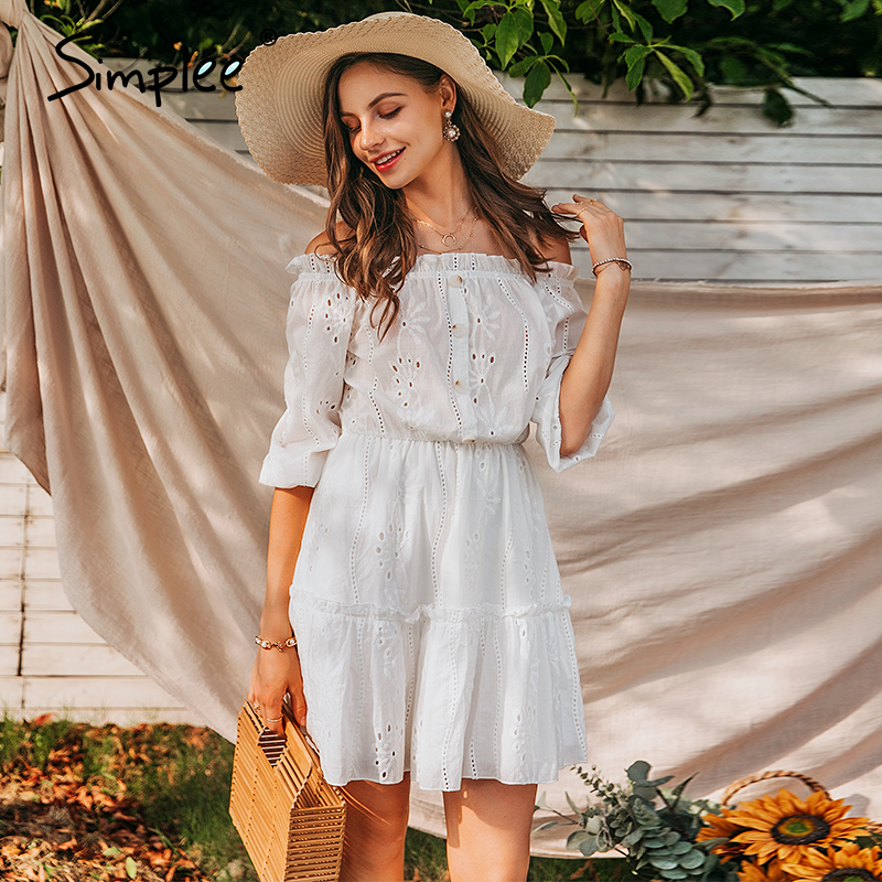 Simplee Women sexy white off shoulder dress Summer solid ruffle cotton dresses Vintage holiday beach short female vestidos
