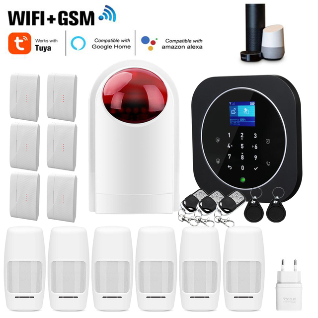 Sgooway fabrika dokunmatik tuş takımı WIFI GSM ev hırsız güvenlik kablosuz Tuya Alarm sistemi hareket dedektörü APP kontrol yangın duman