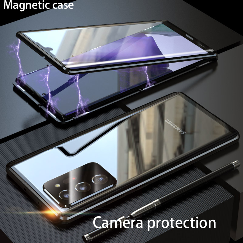 Magnetic Camera protection 360 case for Samsung Galaxy Note 20 Ultra case cover Funda Metal Glass for Samsung Note20 phone Cases