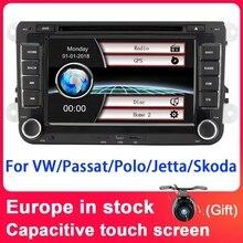 7 Eunavi 2 din Player Multimídia Carro DVD GPS de Navegação para VW Volkswagen Polo New Bora JETTA PASSAT GOLF 6 B6 SKODA Rádio RDS