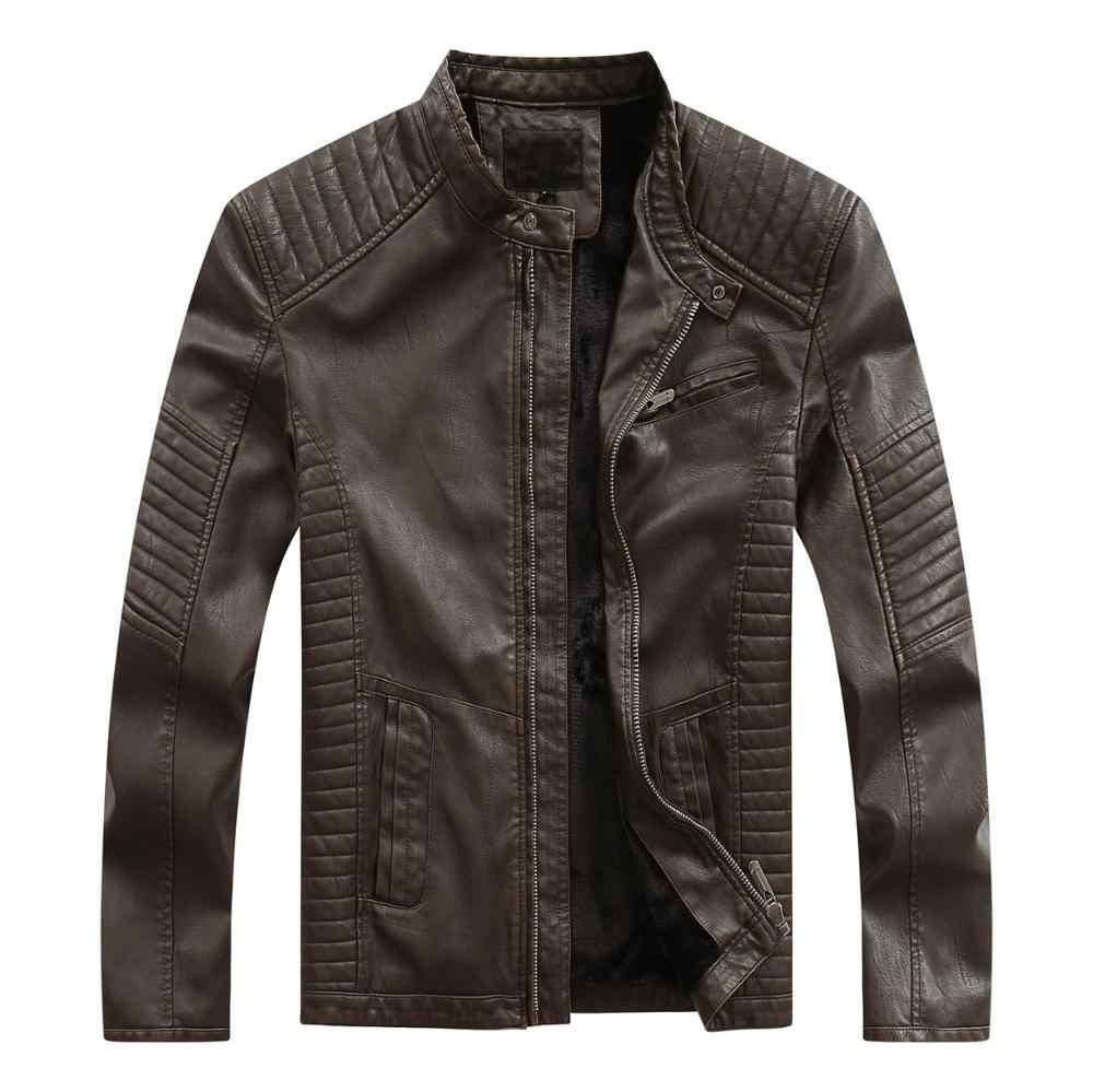 2019 חדש אופנה חורף זכר עור מעיל שחור חום Mens צווארון עומד מעילי עור Biker מעילי אופנוע עור מעיל