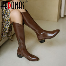 High-Boots FEDONAS Boots-Heels Women's Shoes Side-Zipper Knee Girls Designer Winter Genuine-Leather