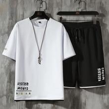 Summer Tracksuit Men Summer Letter Print Sets Street Hip Hop Short Sleeve Tshirt+Casual Sport Shorts Gym Jogging Sportswear Suit