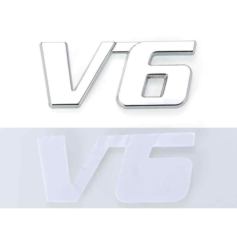 1 قطعة معدن السيارات الكروم ثلاثية الأبعاد V6 التشريد شعار شارة شاحنة السيارات موتور ملصق مائي اكسسوارات السيارات