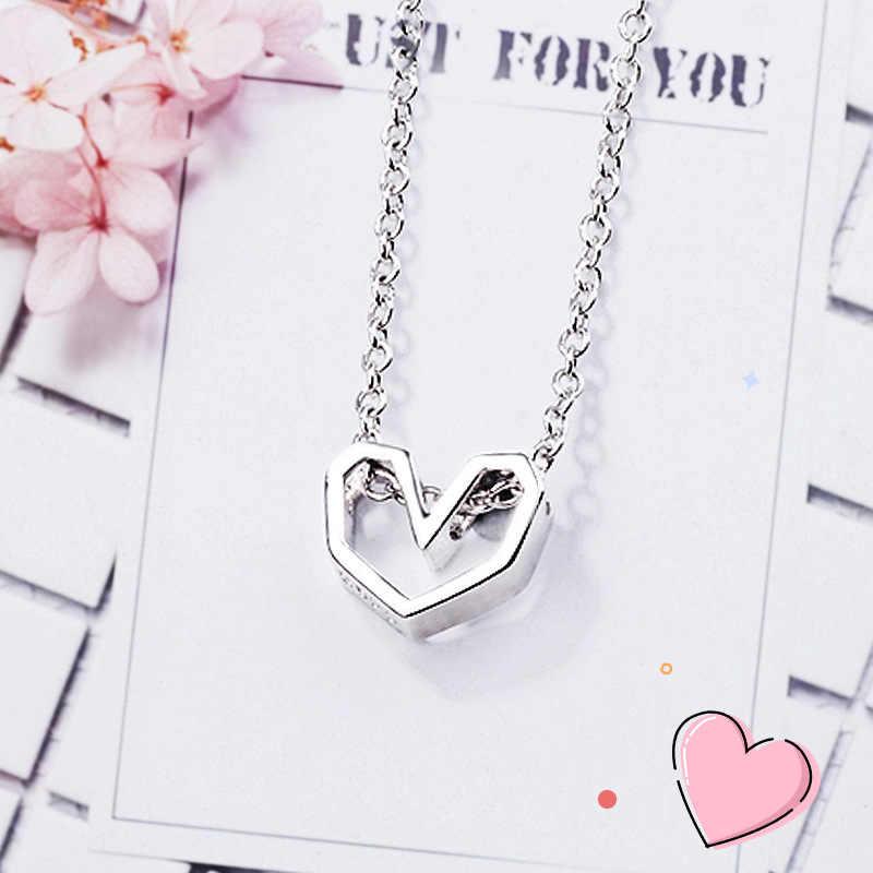Kalung Wanita 925 Sterling Perak Romantis Bunga Kalung Liontin Hadiah Ulang Tahun Kucing Perhiasan Mutiara Mewah Bijoux