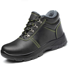 mens casual warm plush safety boots soft leather steel toe cap work shoes building site worker winter shoe security snow boot(China)