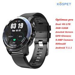 Kospet Optimus Pro podwójny System 4G Smartwatch Android7.1 sport 8.0MP aparat 3GB 32GB inteligentny zegarek 800mAh WiFi GPS dla iOS Android