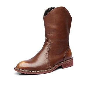 Image 2 - Mens di marca famosa del partito locale notturno del vestito in pelle di mucca brogue scarpe mid vitello stivali da cowboy chelsea di avvio di autunno della molla botas sapatos