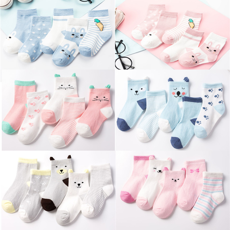 5 Pair/Lot Kids Soft Cotton Socks Boy Girl Baby Cute Cartoon Warm Stripe Fashion Sport For Spring Summer Autumn Winter Children 2