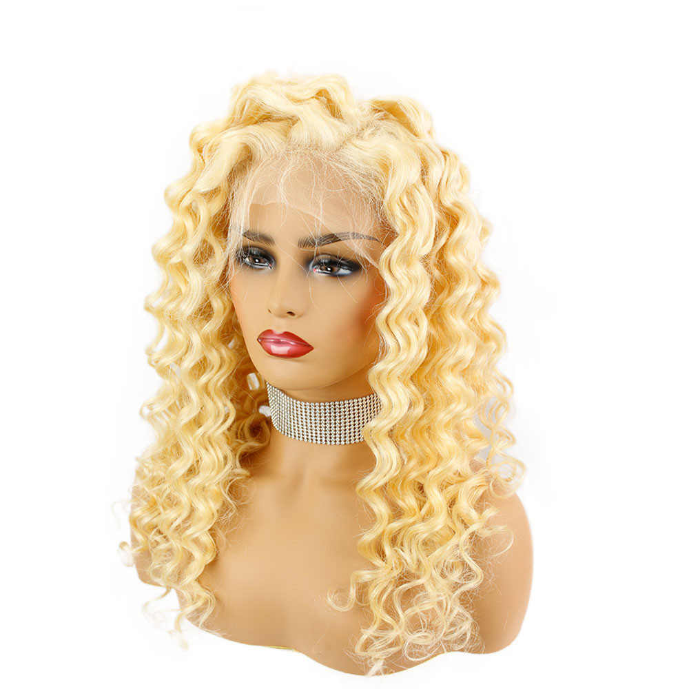 Eseewigs Brazilian Deep Wave 613 Blonde 13x6 Lace Front Wig Human Hair Wig Remy Hair 150 Density 26inch Natural Hairline