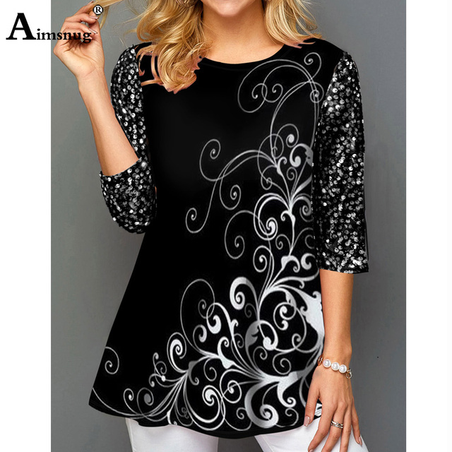 New Elegant Summer Fashion Elasticity Female Casual Loose Ladies print Top Half Sleeve T-Shirt 2