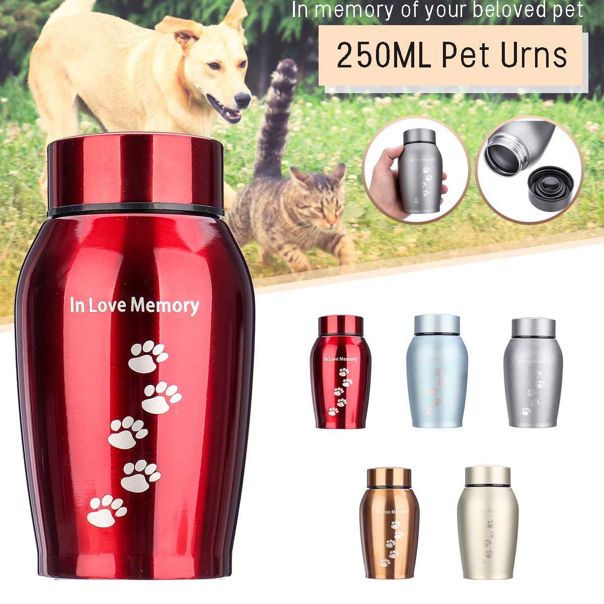 5 Colors Stainless steel Urns Pets Dog Cat Birds Mouse Cremation Ashes Urn Keepsake Casket Columbarium Pets Memorials 250ML