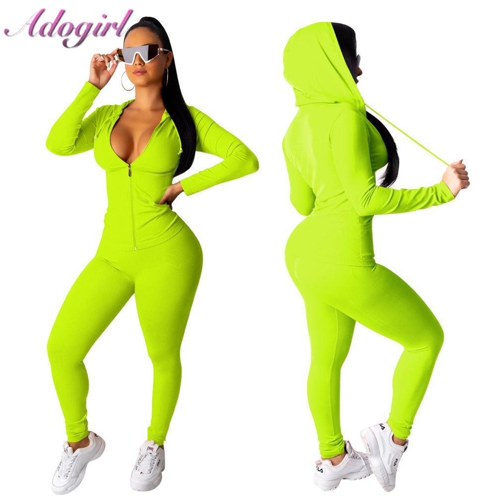 Adogirl Women Tracksuit Two Piece Set Zipper Up Long Sleeve Hooded Sweatshirts Top+ Fitness Long Pants Outfit Sporting Suit Set