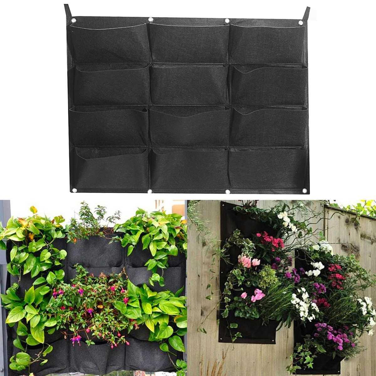 12 Pocket Vertical Garden Planter Wall-mounted Planting Flower Grow Bag Hot Vegetable Living Garden Supplies 80x60cm