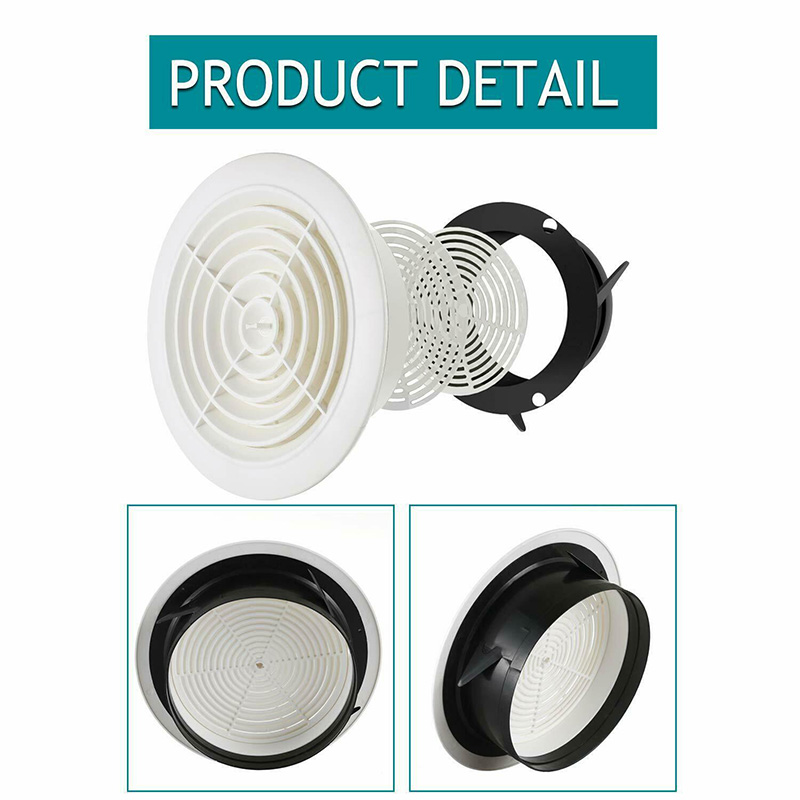 Round Air Vent ABS Louver Grille Cover Adjustable Exhaust Vent For Bathroom Office Ventilation SNO88