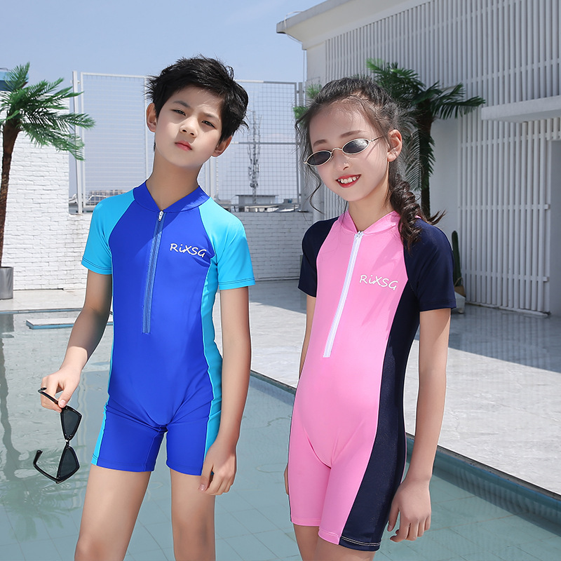 New Style CHILDREN'S Swimsuit Girls One-piece Short Sleeve Sun-resistant Bathing Suit BOY'S Tour Bathing Suit Diving Jellyfish C