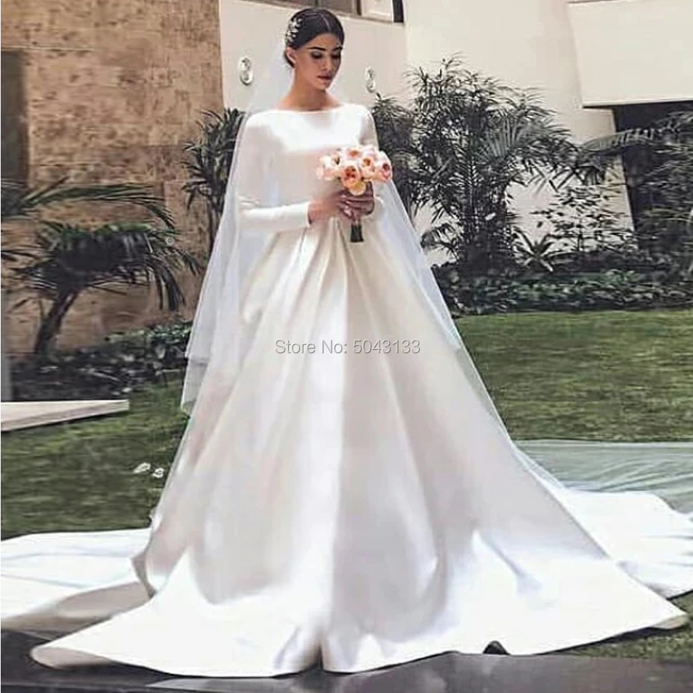 Modest White Satin Wedding Dresses With Long Sleeves A Line Scoop Neckline Muslim Bridal Gowns Vestido De Noiva Sweep Train
