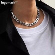 Collier ras du cou court Punk cubain pour hommes et femmes, chaîne épaisse en métal lourd, en acier inoxydable, couleur argent