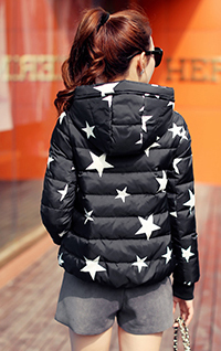 Parkas For Winter Women Hot Sale Short Cloak Women's Duck Down Jacket Star Print Hooded Abrigos Mujer S-2XL LX352