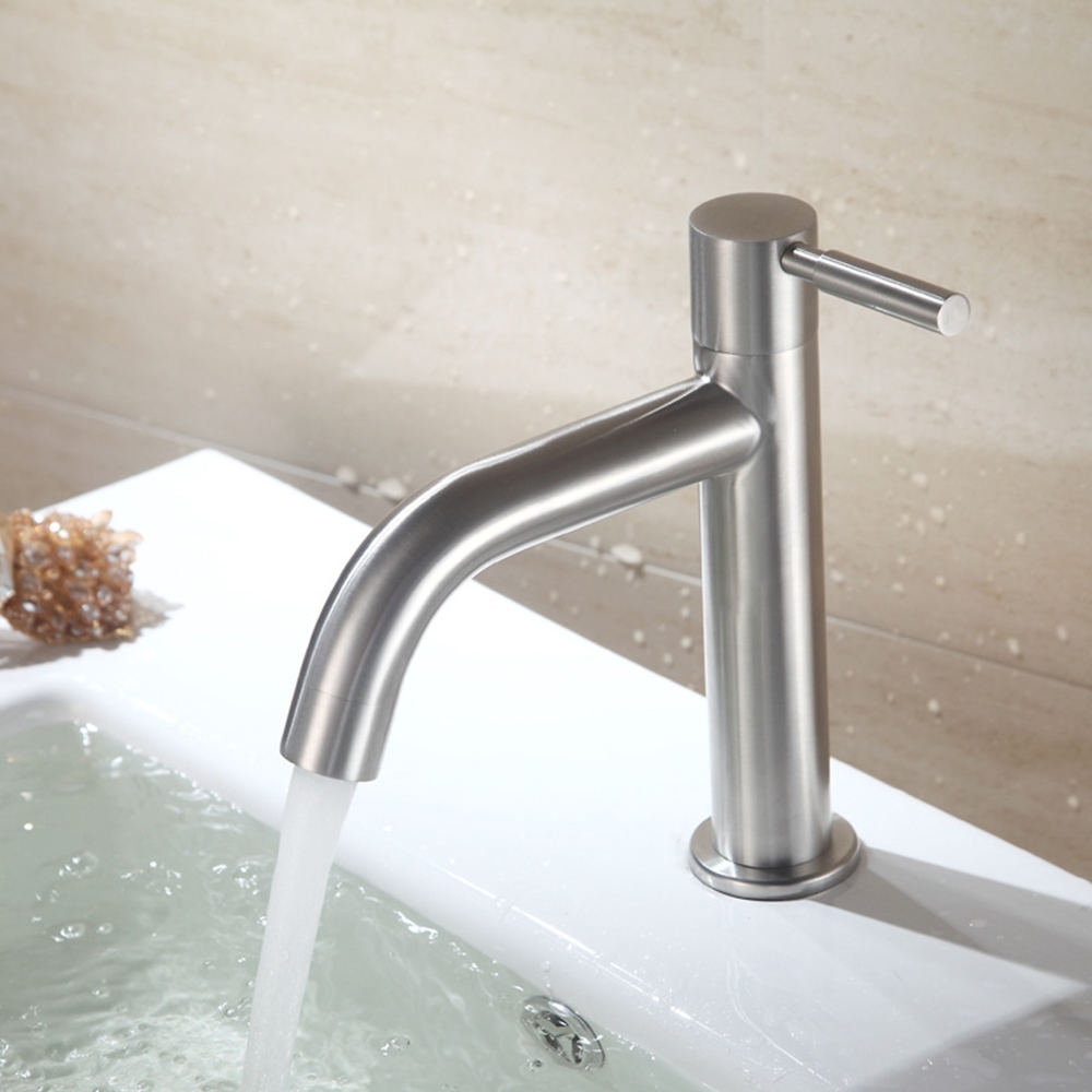 304 Stainless Steel Cold Water Single Lever Bathroom Sink Faucet Basin Tap Accessory Bathroom Taps