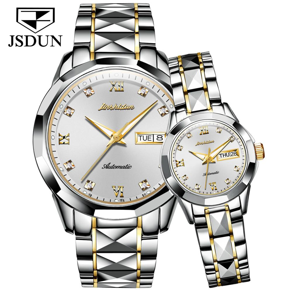 Couples Mechanical Watch Top Brand Luxury Stainless Steel Waterproof Sapphire Mirror Couples  Watches  Decoration