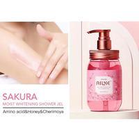 Whole Sale AILKE Strawberry+Rose+Papaya+sakura Fruit Lightening Body Wash Private label Skin Whitening Bath Shower Gel 500ml 3