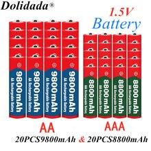 1.5v aaa 8800mah bateria alcalina + 1.5v aa 9800mah bateria recarregável alcalina aa & aaa para diodo emissor de luz brinquedo mp3 frete grátis