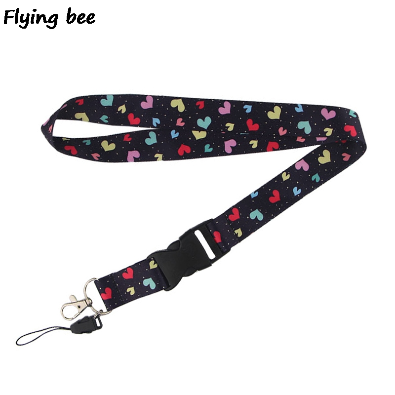 Flyingbee Colorful Heart Lanyard Phone Rope Keychains Phone Lanyard For Keys ID Card Cartoon Lanyards For Men Women X0467