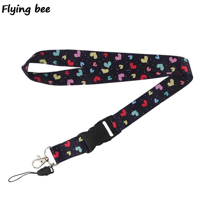 Flyingbee Colorful Heart Lanyard Phone Rope Keychains Phone Lanyard For Keys ID Card Cartoon Lanyards For Men Women X0467