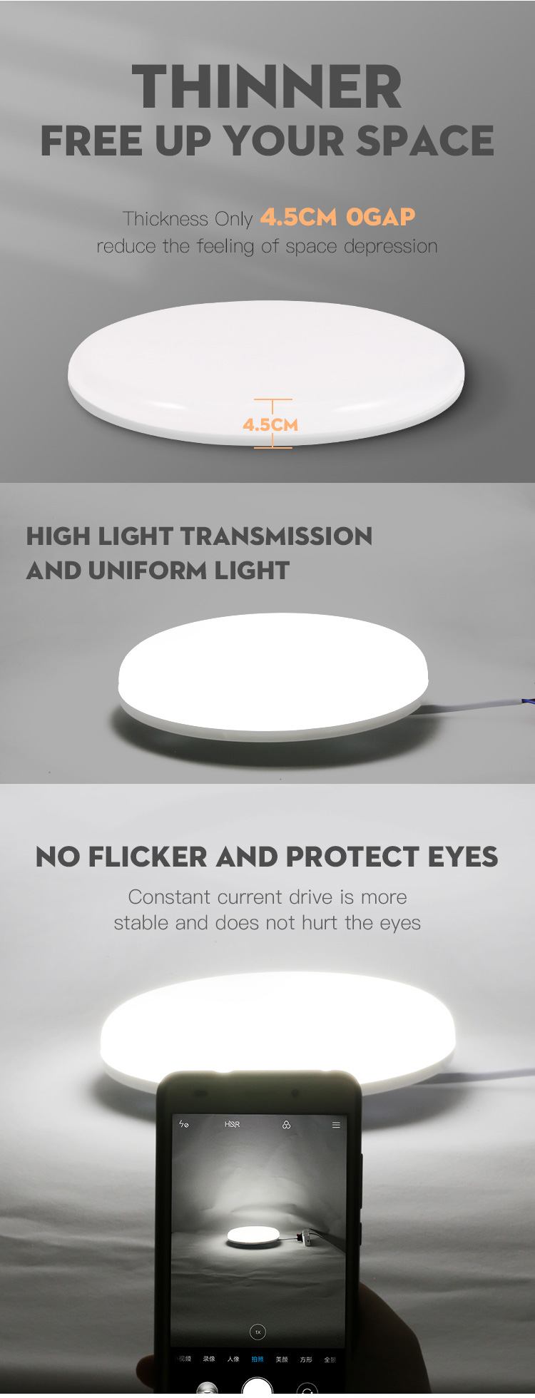 Hae65ed42b68b41da9605dec05a8ca6a9w Led Ceiling Lights Modern LED Ceiling Lamp Light 220V 15W 20W 30W 50W Cold Warm White  Lighting Surface Mounted For Home Kitchen
