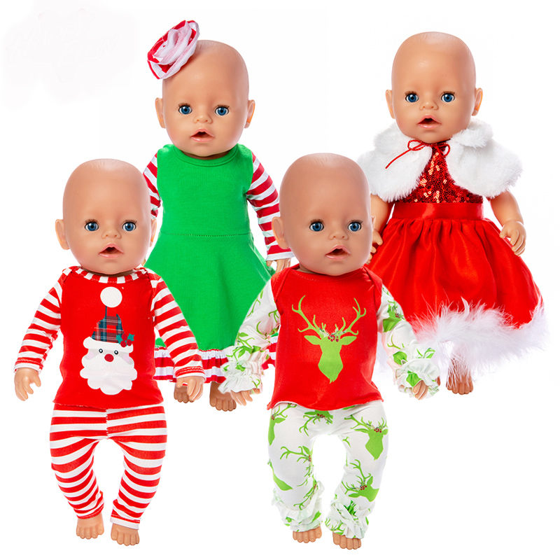 Christmas Doll Clothes Wear For 43cm/17inch Baby Doll, Children Best Birthday Gift(only Sell Clothes)