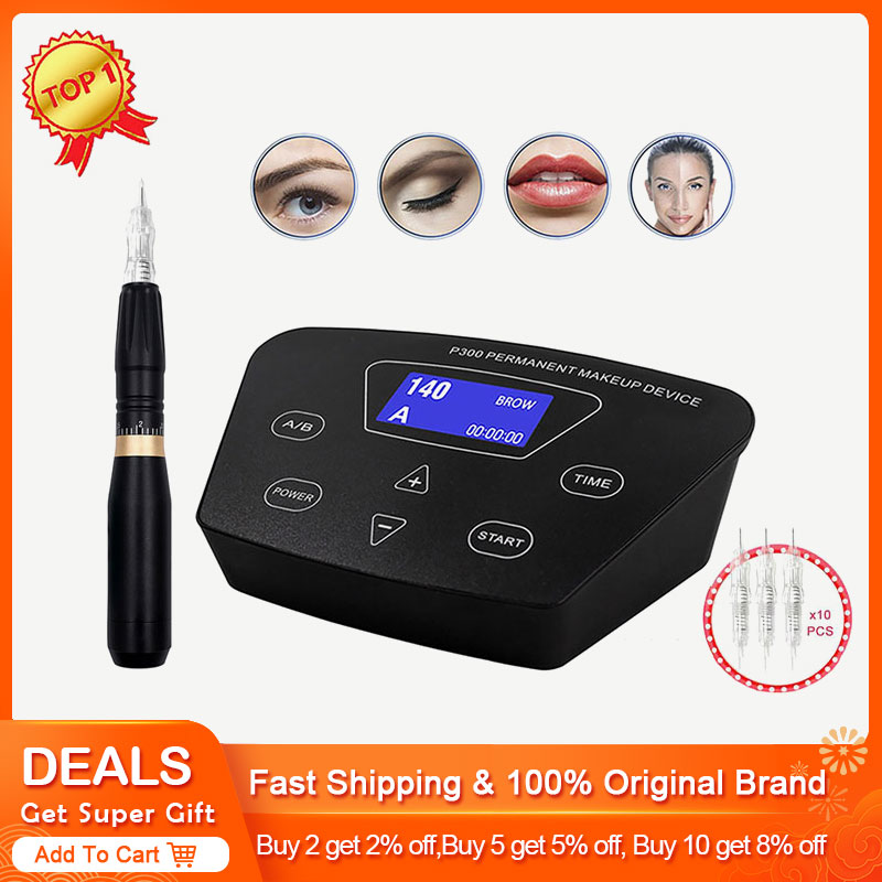 BIOMASER  HP100P300  Permanent Makeup Rotary Machine Eyebrow Tattoo Kits Professional Pen For Eyebrow Eyeliner Lip Tattoo Set