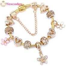 Bracelet à fleurs en cristal pour femmes, couleur or, plaqué argent, chaîne en os de serpent, marque, cadeaux, livraison directe