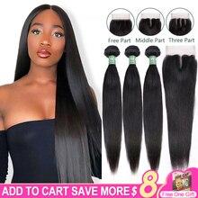 Brazilian Straight Bundles With Closure Aircabin 100% Remy Human Hair Weave Bundles Extensions Swiss 4x4 Lace Closure Deep Part