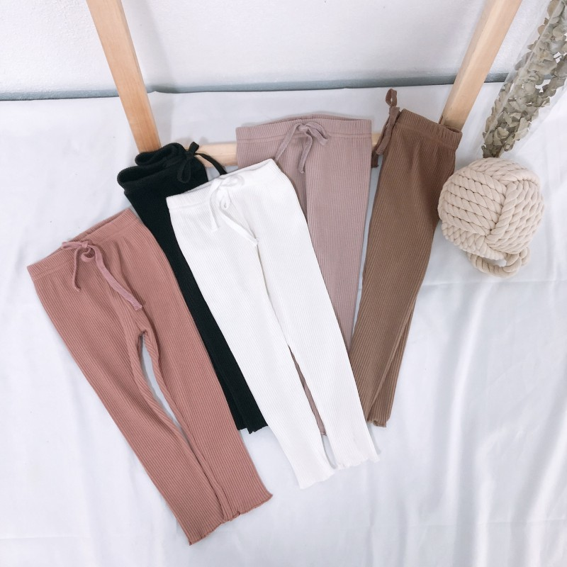 Baby Pants 0-7T Children Spring Spring Casual Princess Soft Cotton Sweet Leggings Solid Color Pants
