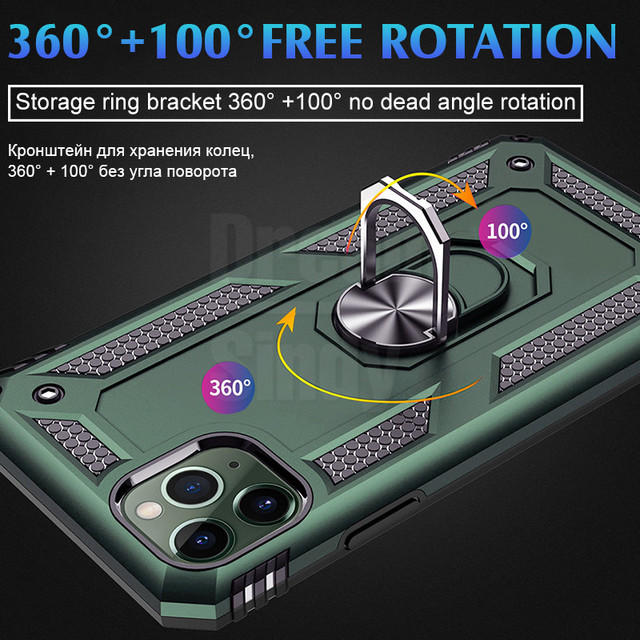 Luxury Armor Shockproof Phone Case For iphone 11 Pro Max X XR XS 7 8 6 6s PLus Full Cover Car Magnetic Ring Bumper Cases Shell