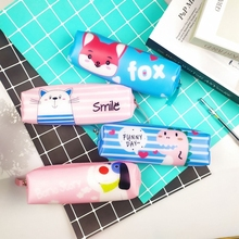 Kawaii Animal Pencil Case Cat Dog Fox Dinosaur Bag for School Box Silicone Pencilcase Supplies Stationery