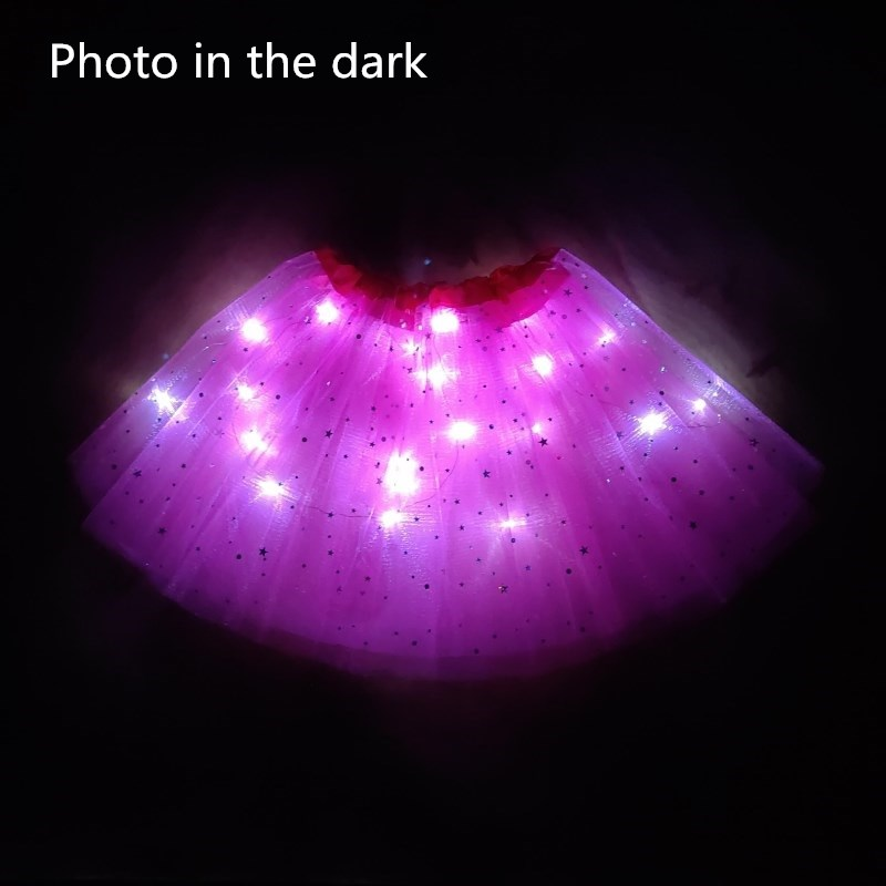 2020 New Light LED Girl Kids Clothes Star Tutu Skirt Princess Party Tutus Tulle Pettiskirt Child Ballet Dance Halloween Rose Red