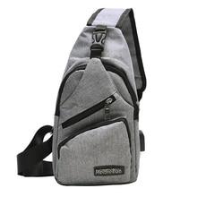 Multifunctional Men Shoulder Bags USB Charging Crossbody Bags Women Chest Bag Travel Canvas Anti-theft Sling One Shoulder Bag