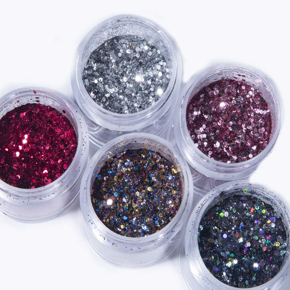 1 Jar MixสีดำGlitter Nail Art Powder Sequins Holographicสีเล็บFlakes Paillette Shineเลเซอร์เล็บตกแต่งเล็บ