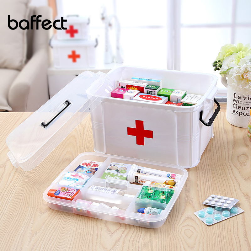 Baffect First Aid Kits Large Capacity Medicine Box Chest Organizer Medical Storage Box Container Box 2 Layer Plastic Storage Box organizer for kit box first aid kit box - title=