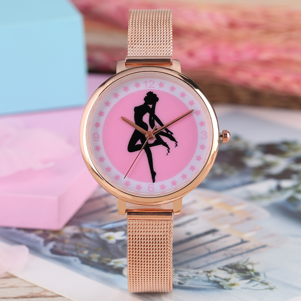 Women Quartz Watches Fashion Sailor Moon Style Female Wrist Watch Stainless Steel Mesh Strap For Ladies Clock Relojes Mujer