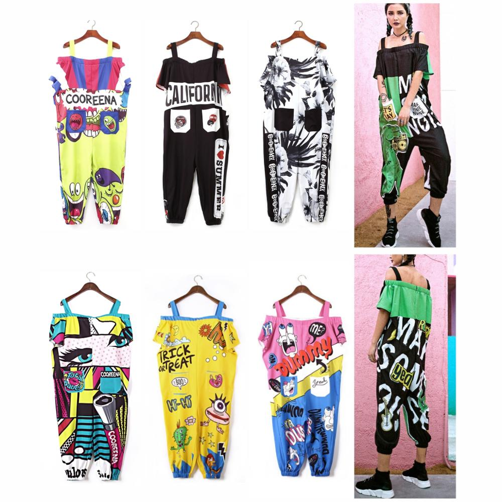 Women Jumpsuits Hip Hop Plus Size Harajuku Overalls Romper Print Cartoon Girl Loose Dance Harem Pants Japanese Female Streetwear